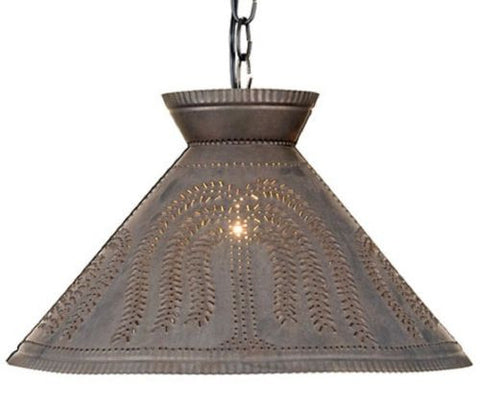 Large PUNCHED TIN PENDANT Handcrafted Country Willow Pattern Colonial Shade Light in Blackened Tin