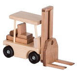 TRACTOR TRAILER & FORK LIFT SET - Amish Handmade Wood Toy Skid Truck