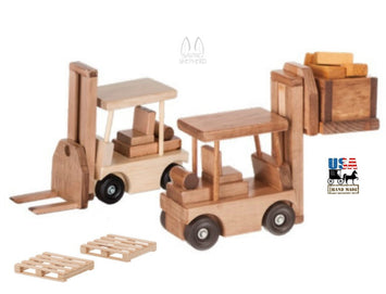 FORKLIFT CONSTRUCTION TOY - Working Wood Truck USA
