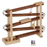 MARBLE FLYER RACE TRACK - Wood & Metal Roller Run with Glass Marbles