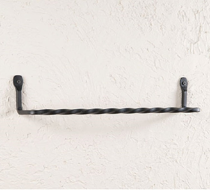 TWISTED WROUGHT IRON WALL TOWEL BAR Primitive Amish Blacksmith