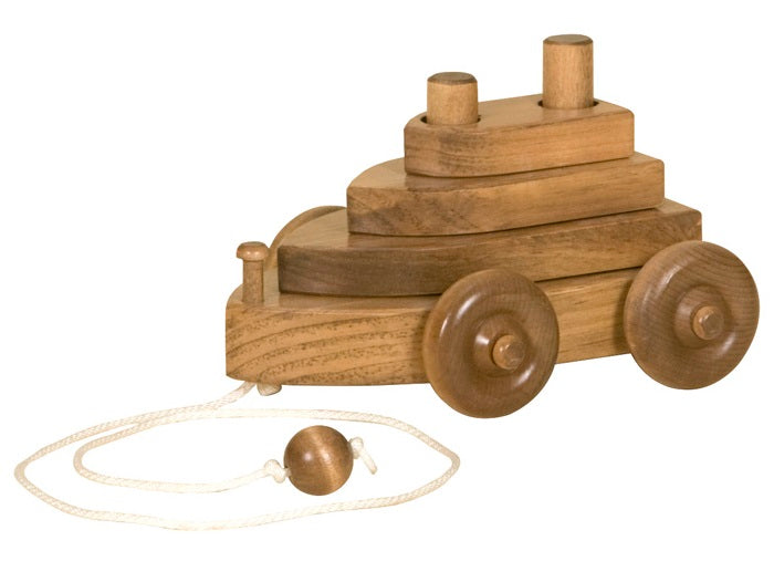 BOAT PULL TOY - Solid Wood with Stacking Hand-Eye Coordination Blocks