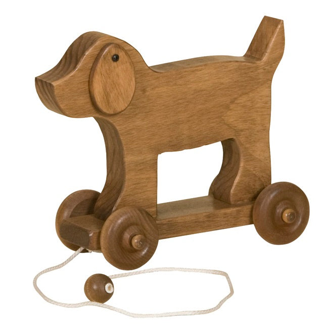 PUPPY DOG PULL TOY - Solid Wood Pull Handmade Toddler Toys