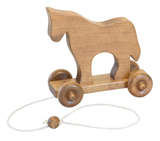 HORSE PULL TOY - Solid Wood Handmade Toddler Walking Toys