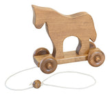 COMPLETE PULL TOY SET - Amish Handmade Wood Horse Boat Grasshopper Dog