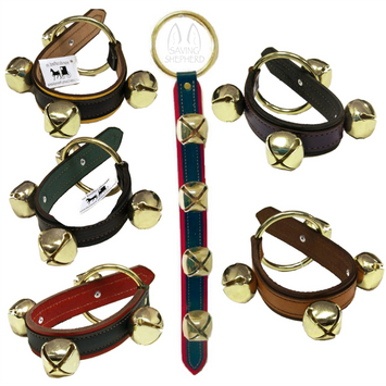 2 LAYER LEATHER STRAP w/ 4 SLEIGH BELLS - 5 Colors - Amish Handmade USA