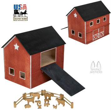 PENNSYLVANIA DUTCH BARN - Large Red Wood Country Farm Toy USA