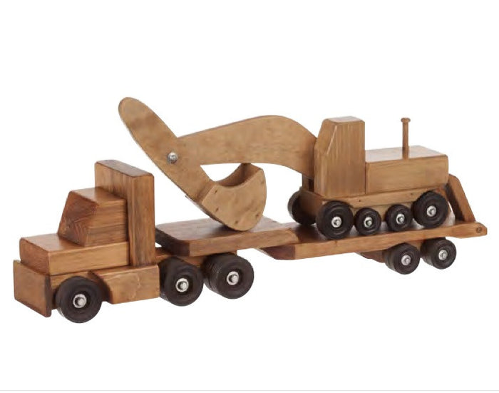 FLAT BED TRACTOR TRAILER with EXCAVATOR SET - Large Amish Handmade Wood Toy
