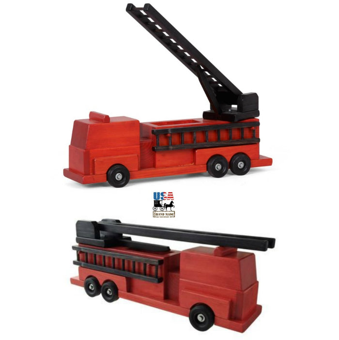LARGE RED FIRE ENGINE - Handmade Working Ladder Rescue Truck