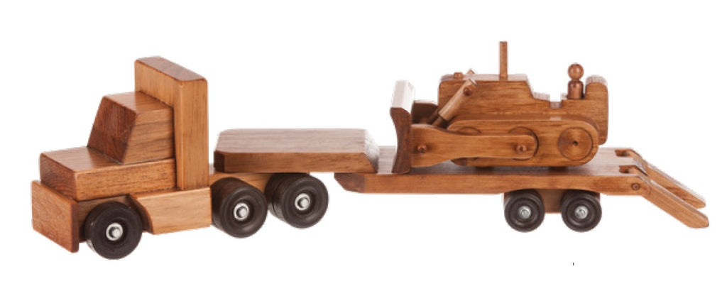 Tractor Trailer Amp Bulldozer Handmade Wood Toy Set