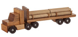 Large LOGGING TRACTOR TRAILER TRUCK - Handmade Working Wood Toy with Log Cargo