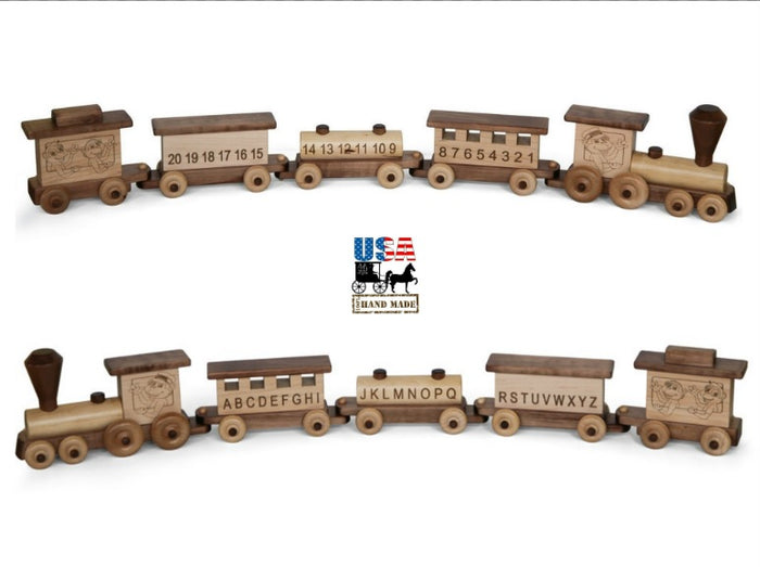 ABC 1-2-3 TOY TRAIN - Alphabet & Numbers Teaching Train Handmade USA