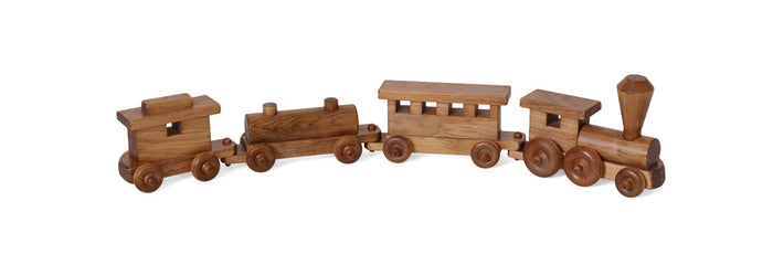2' TOY TRAIN - Engine Passenger Oil Cars and Caboose Handmade Wood Toy USA