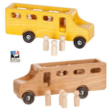 SCHOOL BUS with STUDENTS- Working Amish Handmade Wood Toy USA MADE