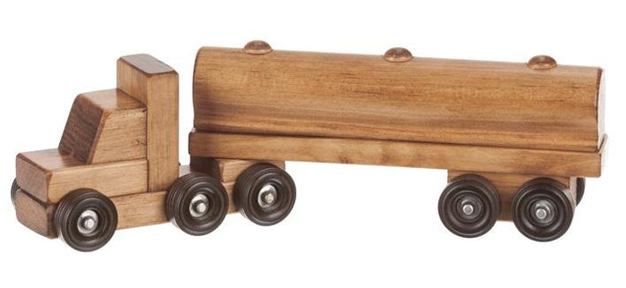 TANKER TRUCK - Milk Oil Tractor Trailer Amish Handmade Wood Toy USA