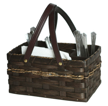 SILVERWARE & NAPKIN HOLDER - Hand Woven Table Picnic Basket