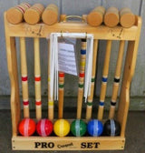 "CROQUET SET & CADDY 6 Player 32"" Maple & Brass Amish Handmade USA"