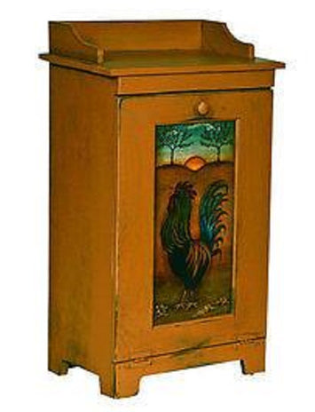 Custom Amish Wood Kitchen Potato Vegetable Trash Bin Cabinet Folk Art Rooster