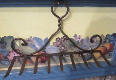 Vintage Garden Rake Head Wine Glass Rack Country Kitchen Utensil