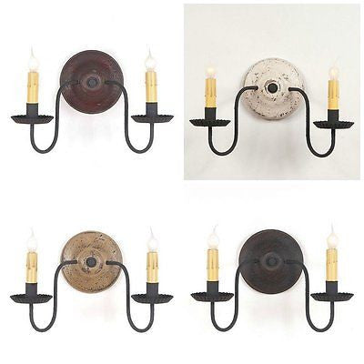 WOOD & METAL SCONCE LIGHT Handcrafted Distressed Wall Lamp in 4 Finishes