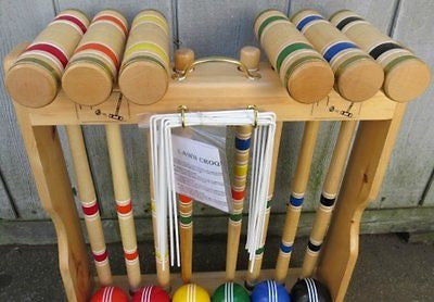 "CROQUET SET & CADDY 6 Player 24"" Maple & Brass Amish Handmade USA"