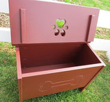 PET TOY BOX Handmade Dog Cat Wood Storage Chest w Bone Paw Print Custom Finish