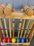 "CROQUET SET & CADDY 6 Player 32"" Maple Wood & Brass Amish Handmade"