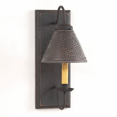 WOOD WROUGHT IRON & PUNCHED TIN WALL SCONCE LIGHT Handcrafted in 4 Distressed Finishes