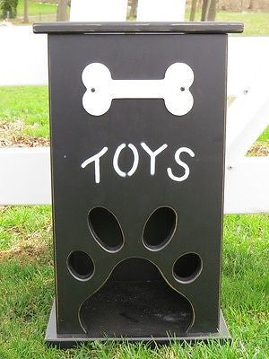 Pet Toy Box Handmade Wood Dog Cat Storage With Bone Paw