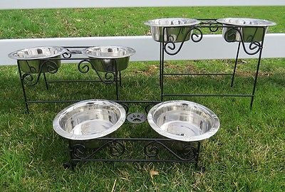 DOG CAT FEEDER Elevated Wrought Iron Pet Food Water Bowl Stand