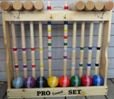 "CROQUET SET & CADDY 8 Player 24"" Maple & Brass Amish Handmade USA"