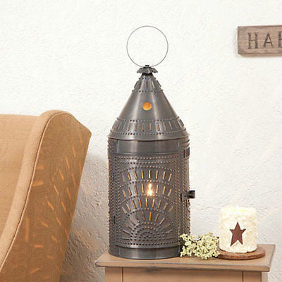 "PUNCHED TIN LANTERN TABLE LAMP Handcrafted 27"" Blacksmith's Light with Chisel Pattern in 3 Finishes"