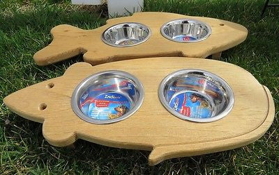 Superieur ... CAT FEEDER Handmade Elevated Wood Mouse Or Fish Shaped With Steel Bowls  ...