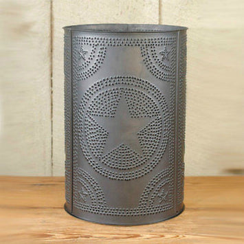 PUNCHED TIN WASTE BASKET Handcrafted in Colonial Star & Willow Tree & Country Diamond Patterns