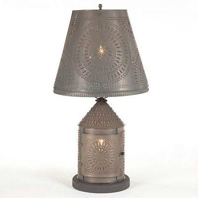 PUNCHED TIN LANTERN LAMP Candelabra Base with Chisel Pattern & Shade in Blackened or Rustic Tin