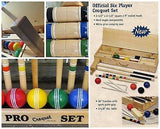 "CROQUET SET & CADDY 6 Player 28"" Maple Wood & Brass Amish Handmade"