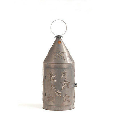 Punched tin lantern handcrafted 27quot blacksmith39s country for Rustic star floor lamp