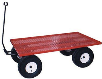 AMISH STEEL BED WAGON Red Utility Pull Cart USA