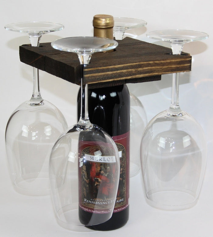 Amish Handmade Wine Rack Bottle Glass Wall Holder Display