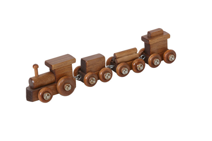 TOY TRAIN - Engine 2 Cars and Caboose Handmade Wood Toy USA
