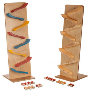LARGE TRAIN ROLLER FLIP TRACK - Amish Handmade Classic Wood Toy with 2 Cars/Trains