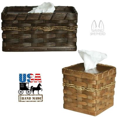 TISSUE BOX HOLDER - Hand Woven Reed Square or Rectangle Basket Cover in 13 Finishes