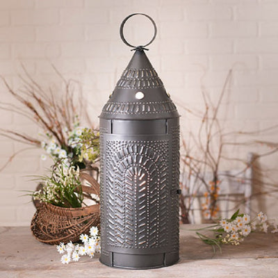 "26"" PUNCHED TIN ""CATHEDRAL"" LANTERN - Smokey Black Colonial Light with Chisel Pattern"