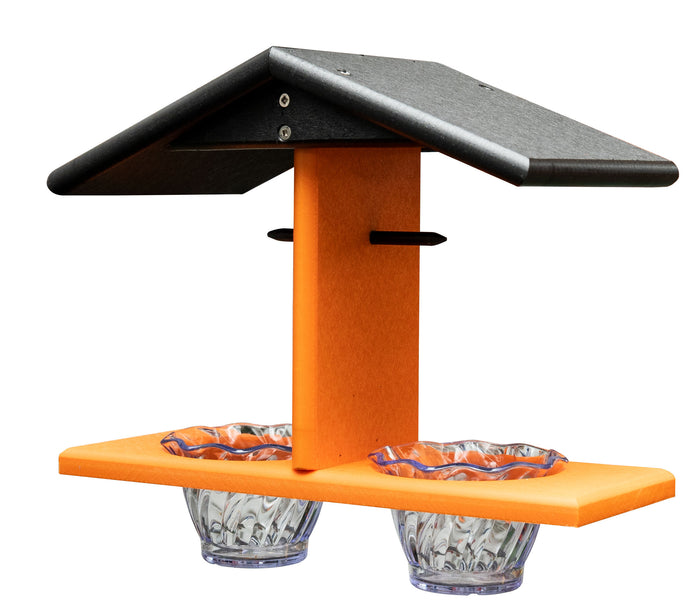 DOUBLE ORIOLE BIRD FEEDER with 2 Jelly Jars & Orange Spikes - Custom Poly Colors USA