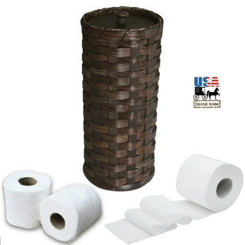 3 ROLL TOILET TISSUE STACKER - Hand Woven Paper Holder TP Basket & Lid