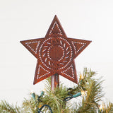 CHRISTMAS TREE STAR - Handcrafted Punched Topper in Rustic & Blackened Tin