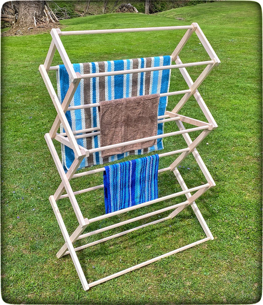 FOLDING DRYING RACK - Amish Handmade 36W x 52½H x 17D Maple Wood Clothes Laundry Hanger