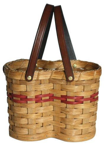DOUBLE WINE BOTTLE HOLDER - Hand Woven Natural Reed Drink Basket