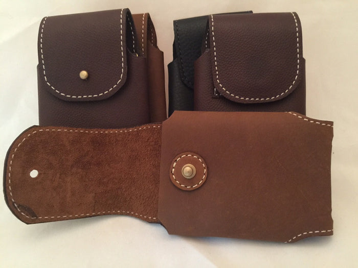HANDMADE LEATHER PHONE CASE & WALLET Brown Belt Holster with Stud Closure