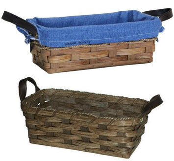 BREAD BASKET with SADDLE LEATHER HANDLES - Amish Hand Woven Rattan Basket